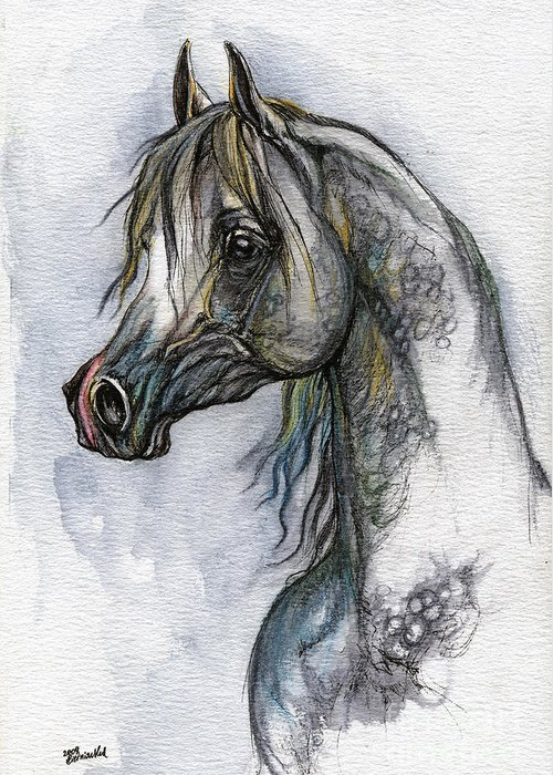 Watercolor Greeting Card featuring the painting The Grey Arabian Horse 10 by Angel Ciesniarska