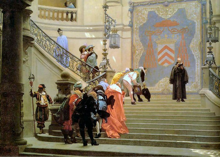 The Grey Cardinal Greeting Card featuring the digital art The Grey Cardinal by Jean Leon Gerome