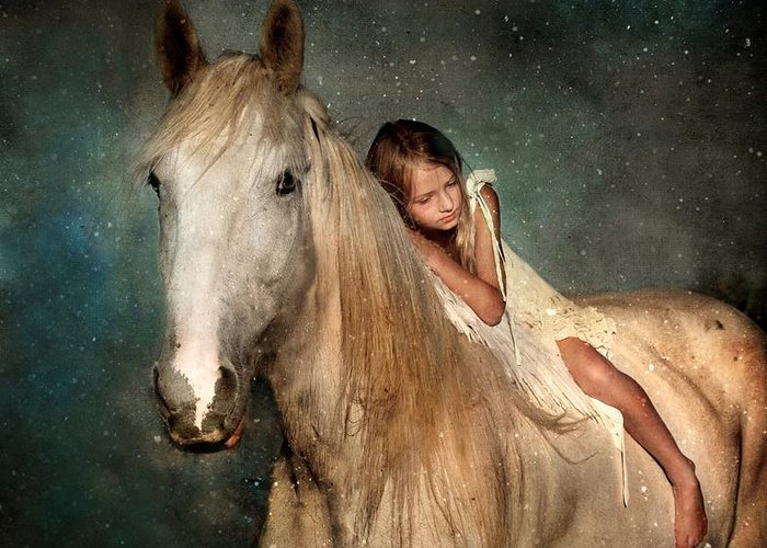 Horse Greeting Card featuring the photograph The Guardian Angel by Dorota Kudyba