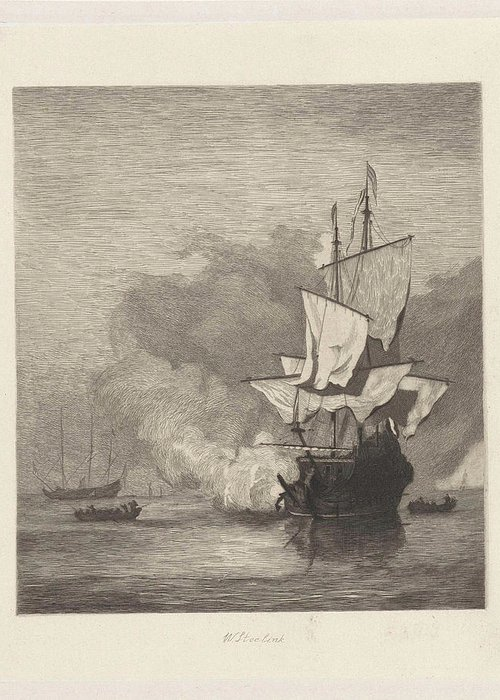 Sailing-ship Greeting Card featuring the drawing The Gun Shot, Willem Steelink I, Willem Van De Velde II by Willem Steelink (i) And Willem Van De Velde (ii)