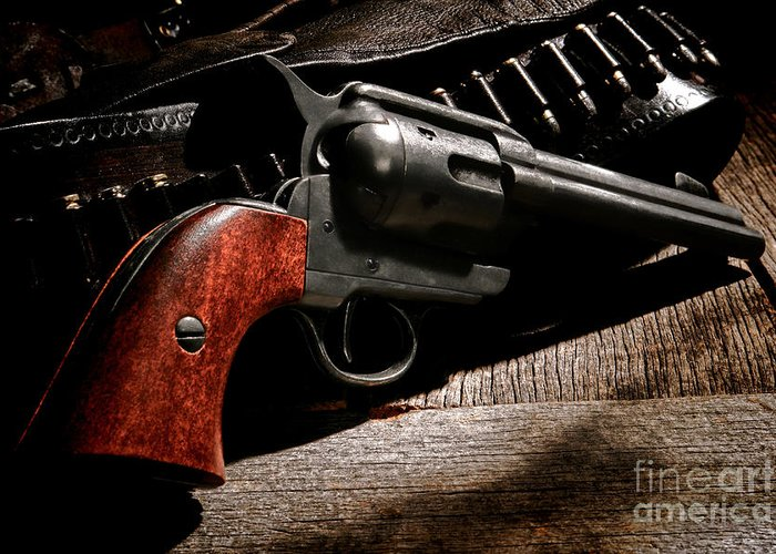 Revolver Greeting Card featuring the photograph The Gun That Won The West by Olivier Le Queinec