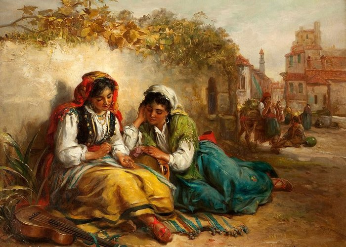 Gypsy Greeting Card featuring the painting The Gypsies by Thomas Kent Pelham