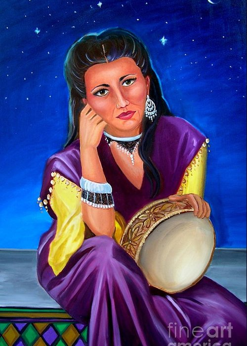 Gypsy Greeting Card featuring the painting The Gypsy by Lora Duguay