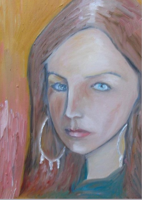 Portraiture Greeting Card featuring the painting The H. Study by Jasko Caus