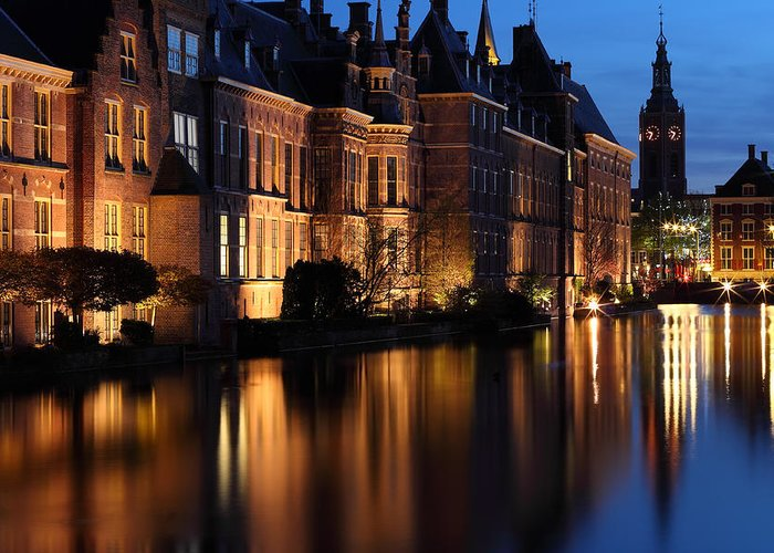 's-gravenhage Greeting Card featuring the photograph The Hague By Night by Mihai Andritoiu
