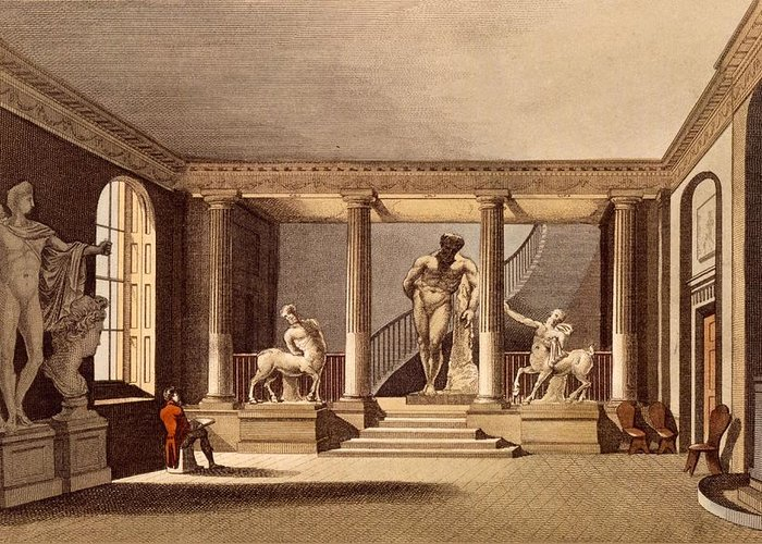 Hall At The Royal Academy Greeting Card featuring the drawing The Hall At The Royal Academy, Somerset by English School