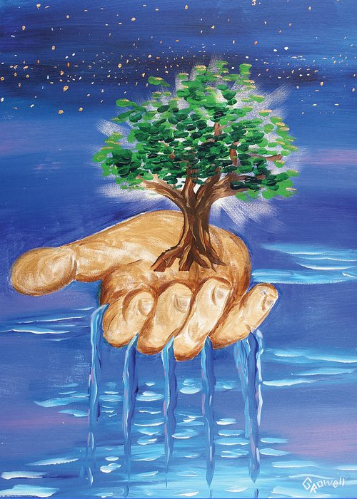 The Hand Of The Lord Greeting Card featuring the painting The Hand Of The Lord by Gary Rowell