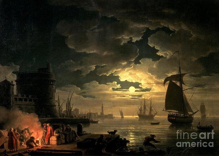 Boat Greeting Card featuring the painting The Harbor Of Palermo by Claude Joseph Vernet