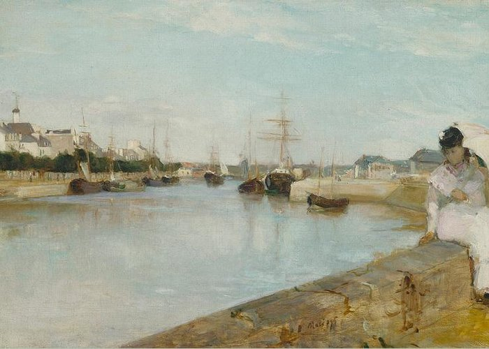 Harbour; Lorient; Harbor; Brittany; Bretagne; Bay; Seaport; Port; Boat; Boats; Peaceful; Serene; Tranquil; Summer; Sunshine; Figure; White; Summer; Dress; Parasol; Beauty; Elegant; Fashion; Fashionable; Seated; Perching; Wall; French; France; Impressionist; Impressionism; Berthe; Morisot; Oil; Oil Painting; Umbrella; Water; Dock; Sky; Clouds; Shore; Beach; Sand; Sandy; Sail; Sails; Depth; Lady; Woman; Female; Relax; Relaxing; Relaxed; Seaside; Subtle; Somber; Solitude; Lonely; Pensive; Distant Greeting Card featuring the painting The Harbour At Lorient by Berthe Morisot