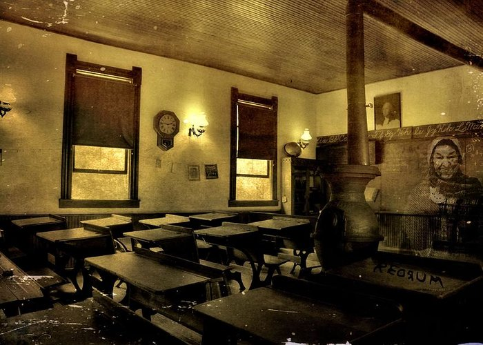 The Haunted Classroom Greeting Card featuring the photograph The Haunted Classroom by Dan Sproul