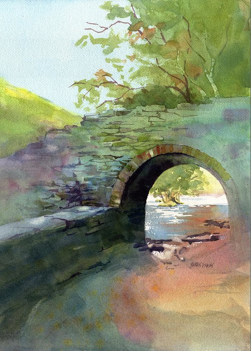 Kris Parins Greeting Card featuring the painting The Headgate by Kris Parins