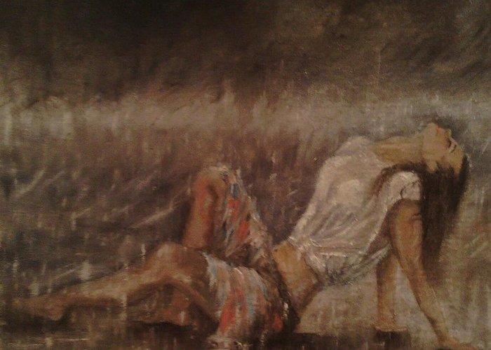 #heart #heartbreak #rain #water #romance #figure #figures #woman #emotion #emotional #beach #oil #linen #fineoil #splash #color #soft #gentle #art #artist #mist #misty #fog #rainy #girl #youngwoman Greeting Card featuring the painting The Heart Upon My Sleeve by Erin Langham