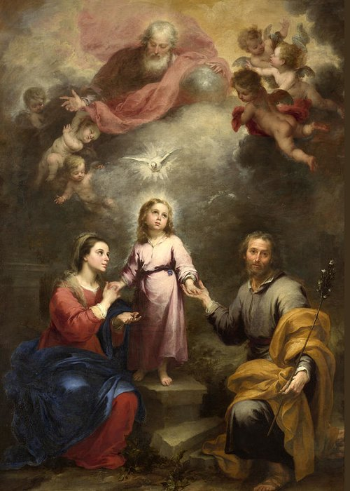 Bartolome Esteban Murillo Greeting Card featuring the painting The Heavenly And Earthly Trinities by Bartolome Esteban Murillo