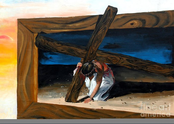Painted Mural Greeting Card featuring the painting The Heaviest Cross To Bear by Linda Rae Cuthbertson