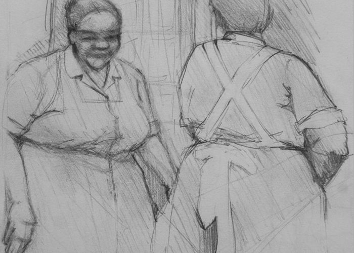 Housekeepers Greeting Card featuring the photograph The Help - Housekeepers Of Soniat House Sketch by Jani Freimann