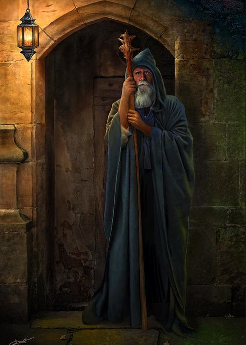 Hermit Greeting Card featuring the digital art The Hermit by Bob Nolin
