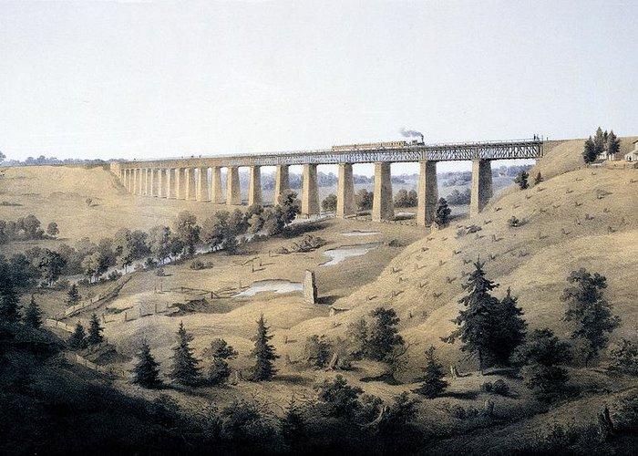Virginia Greeting Card featuring the drawing The High Bridge Near Farmville, Prince by Edward Beyer