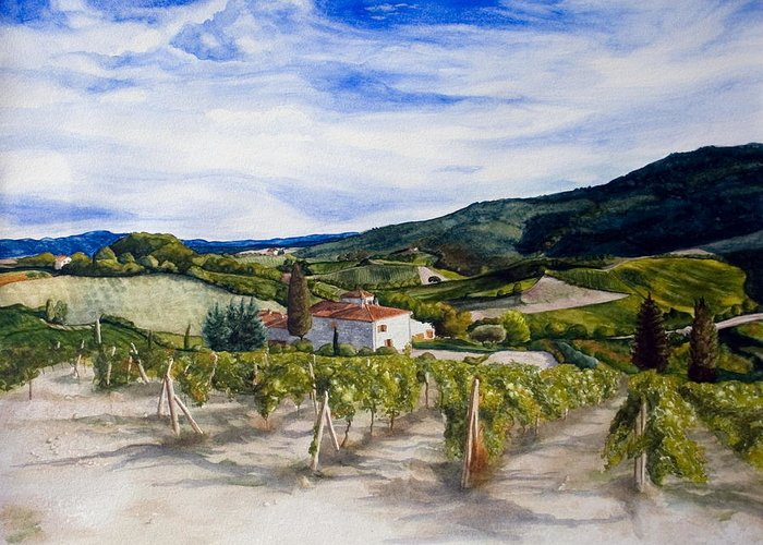 Landscape Greeting Card featuring the painting The Hills Of Tuscany by Monika Degan