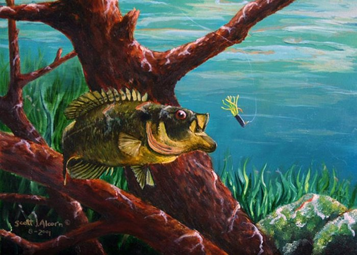 Fish Greeting Card featuring the painting The Hit   Warmouth by Scott Alcorn
