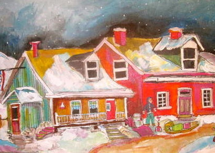 Quebec Houses Greeting Card featuring the painting The Hockey Nation by Michael Litvack
