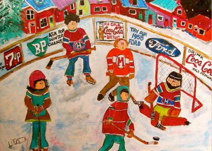 1950's Hockey Game Greeting Card featuring the painting The Hockey Rink by Michael Litvack