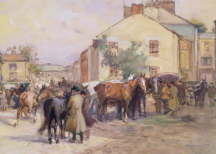 Horse Greeting Card featuring the painting The Horse Fair by John Atkinson