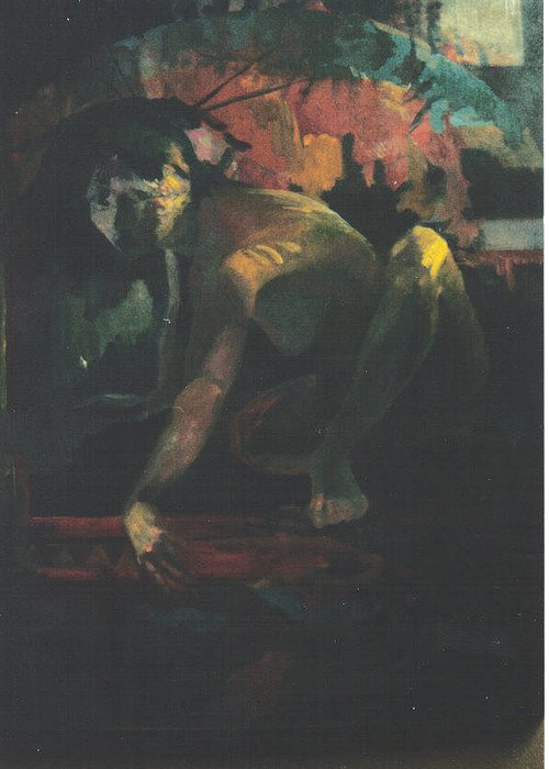 Figure Greeting Card featuring the painting The Hot Tub by John L Campbell