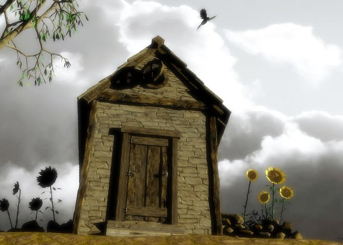 House Greeting Card featuring the digital art The House Of Light And Shadow by Cynthia Decker