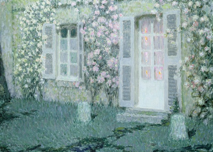 Post Impressionist Greeting Card featuring the painting The House With Roses by Henri Eugene Augustin Le Sidaner