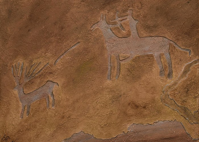 Petroglyph Greeting Card featuring the relief The Hunt by Katie Fitzgerald