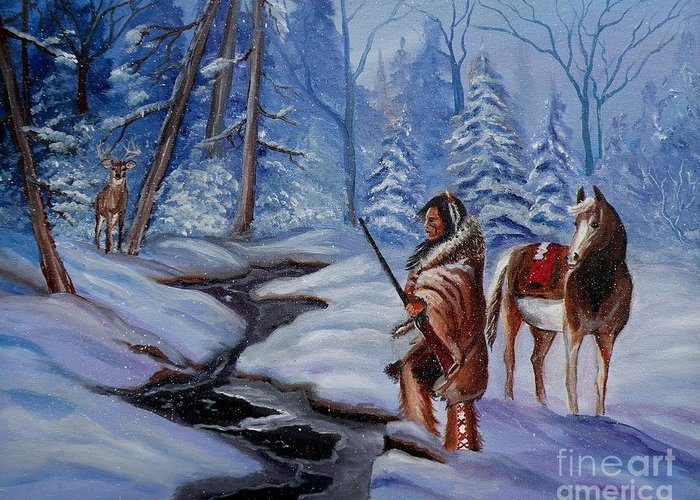 Winter Landscape Greeting Card featuring the painting The Hunt by Lora Duguay