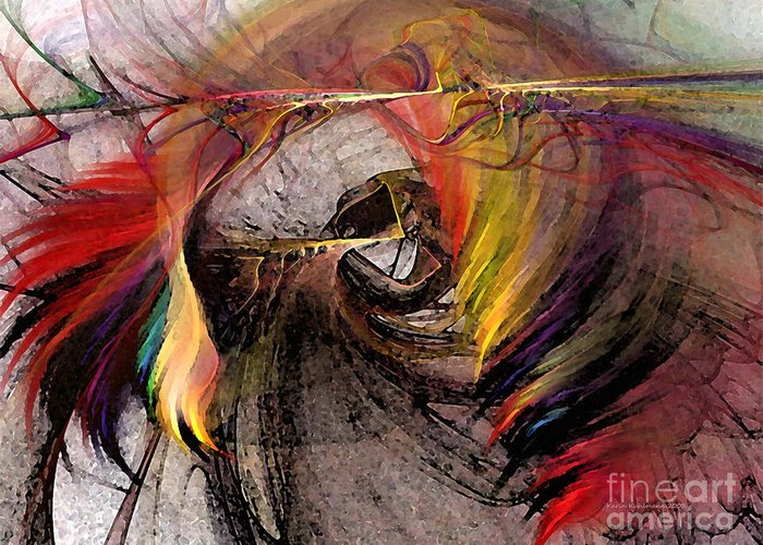 Abstract Greeting Card featuring the digital art The Huntress-abstract Art by Karin Kuhlmann