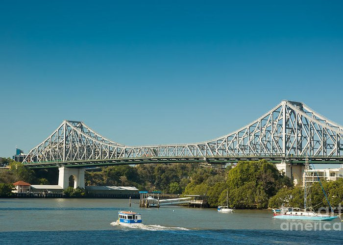 Story Bridge Greeting Card featuring the photograph The Icon Of Brisbane - Story Bridge by David Hill