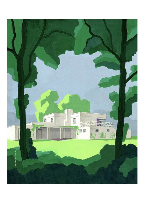 Architecture Greeting Card featuring the digital art The Ideal House In House And Gardens by Witold Gordon