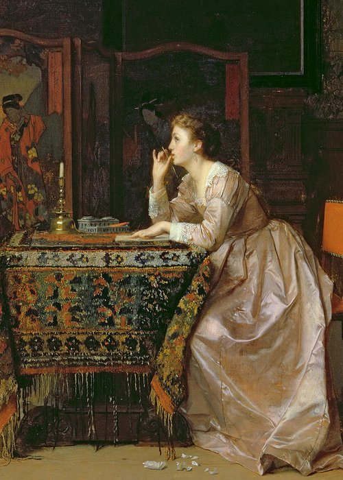 Interior; Female; Writing; Love Letter; Thinking; Romantic; Tapestry; Chinese Screen; Pensive Greeting Card featuring the painting The Important Response by Florent Willems