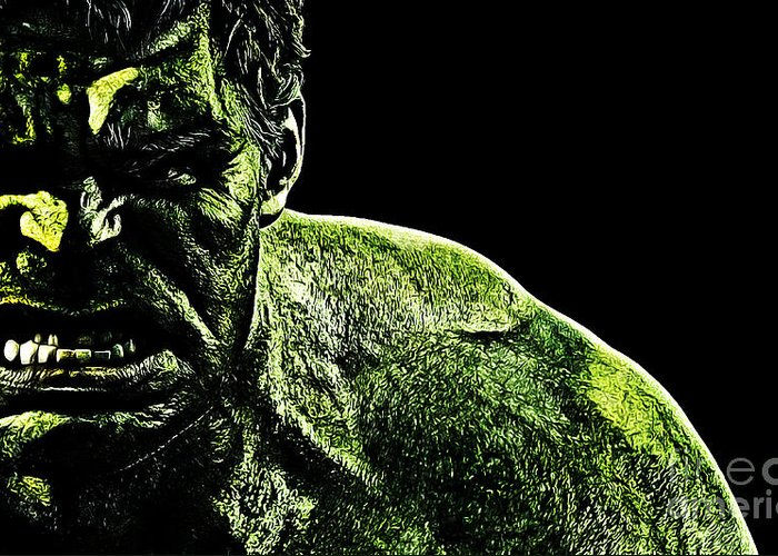 The Incredible Hulk Greeting Card featuring the digital art The Incredible by The DigArtisT