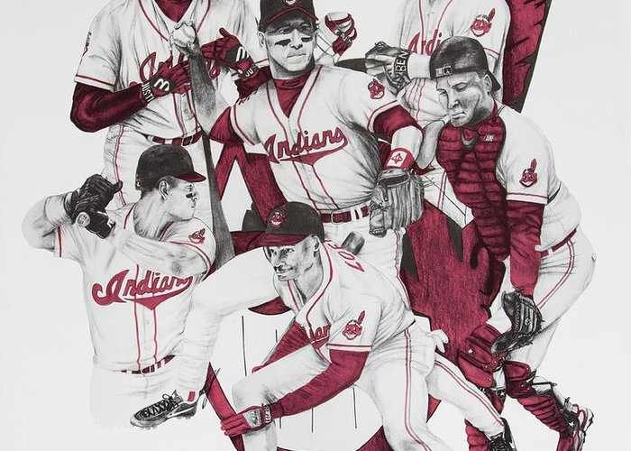 Alomar Greeting Card featuring the drawing The Indians' Glory Years-late 90's by Joe Lisowski