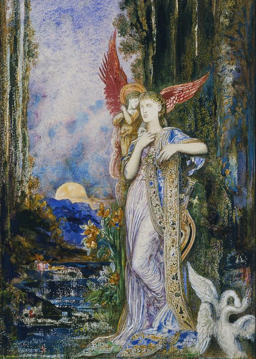 Angels; Moon; Female; Symbolism; Symbolist Greeting Card featuring the painting The Inspiration by Gustave Moreau