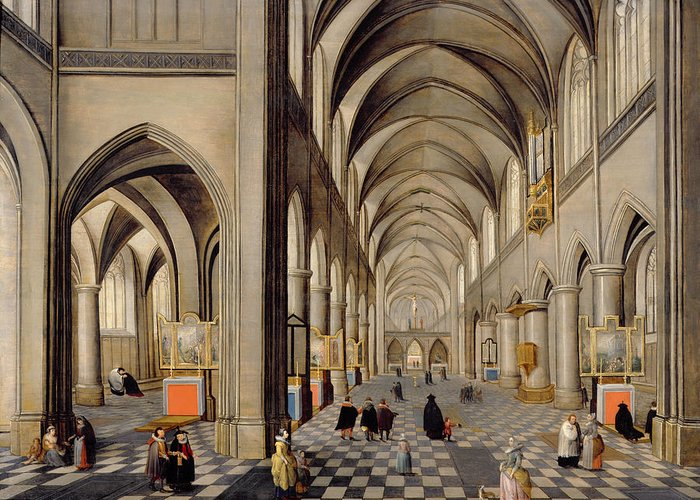 Religious Greeting Card featuring the painting The Interior Of A Gothic Church by Hendrik the Younger Steenwyck