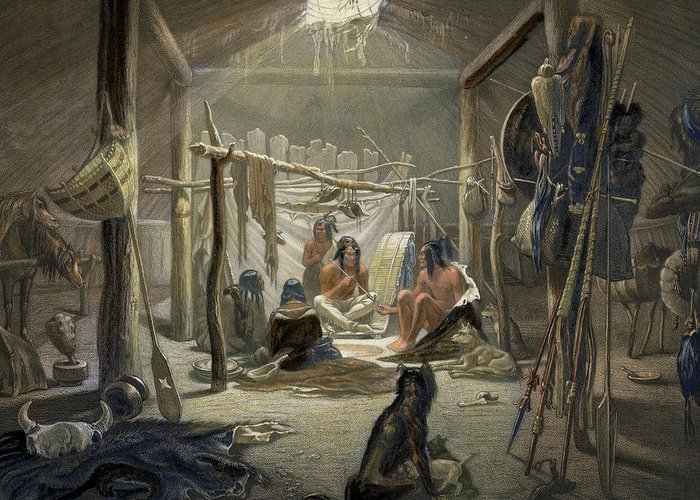 Native American Indian; Peacepipe ;wigwam; Warrior; Dogs; Huskies; Tipi; Weapons; Gathering; Peace Pipe Greeting Card featuring the painting The Interior Of A Hut Of A Mandan Chief by Karl Bodmer
