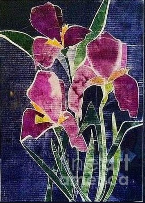 Orchards Greeting Card featuring the relief The Iris Melody by Sherry Harradence