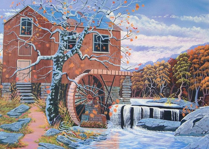 Old Water Mill Greeting Card featuring the painting The Jamestown Mill by Seth Wade