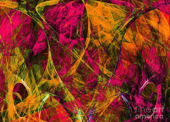 Fractal Greeting Card featuring the digital art The Jester 20130510 by Wingsdomain Art and Photography