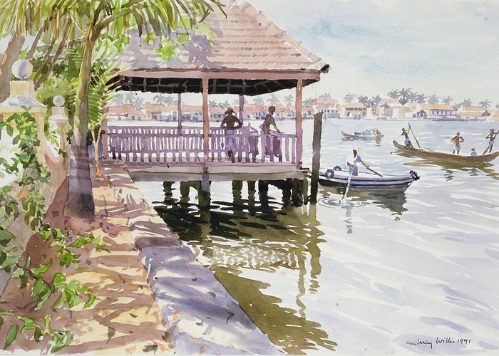 Canoe; Vietnam Greeting Card featuring the painting The Jetty Cochin by Lucy Willis