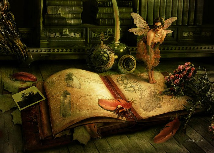 Fantasy Greeting Card featuring the digital art The Journal by Cassiopeia Art