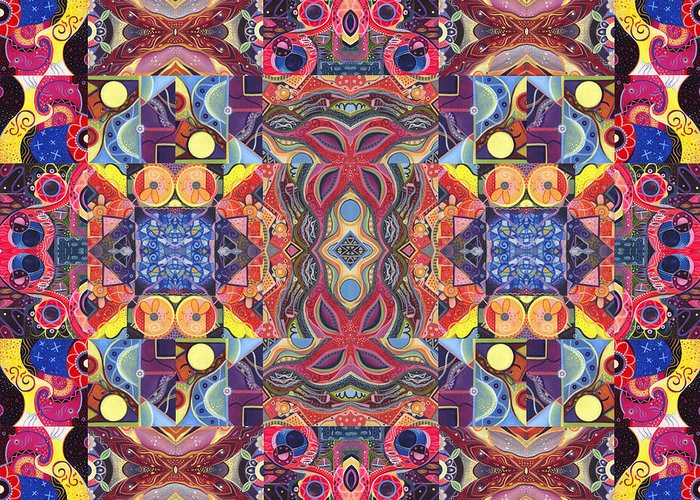 Abstract Greeting Card featuring the painting The Joy Of Design Mandala Series Puzzle 3 Arrangement 1 by Helena Tiainen