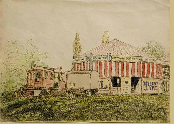 Carnival Greeting Card featuring the drawing The Joy Wheel, Mitcham by John Doman Turner