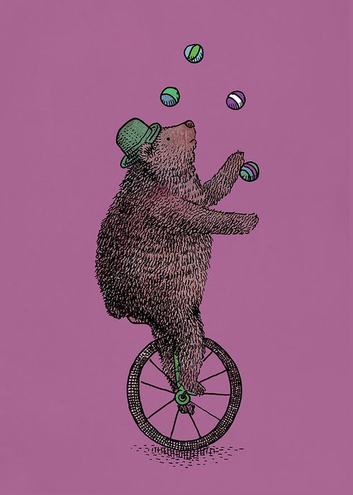 Bear Greeting Card featuring the drawing The Juggler by Eric Fan