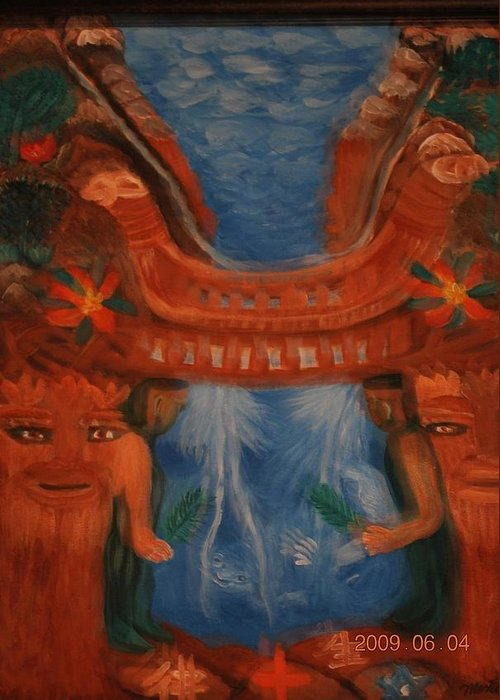 20x24 Acrylic On Canvas Greeting Card featuring the painting The Keeper Of Wisdom by Monet Nishimura
