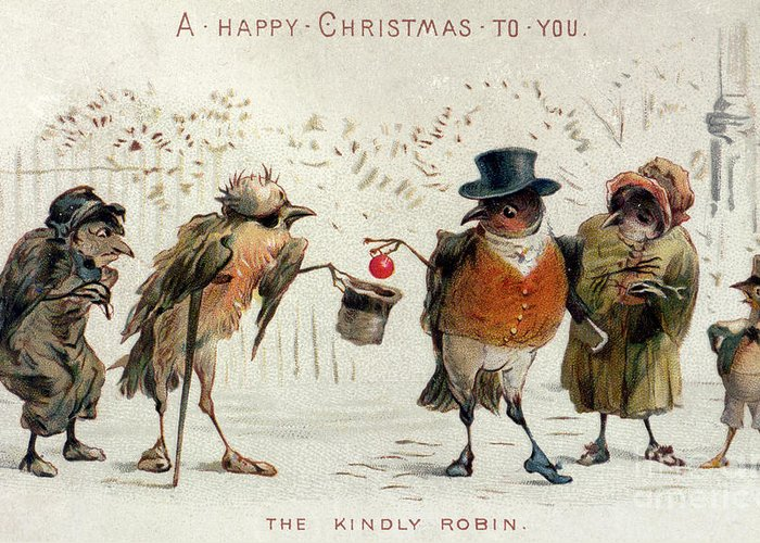 Winter Greeting Card featuring the painting The Kindly Robin by Castell Brothers